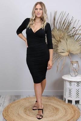 Bella Rouge Crossover Dress - Black