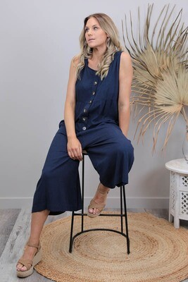 Out And About Button Linen Blend Jumpsuit - Navy
