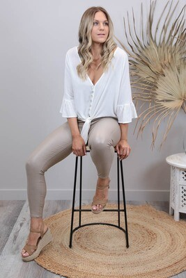 Lady Luck Button Frill Sleeve Tie Shirt - Cream