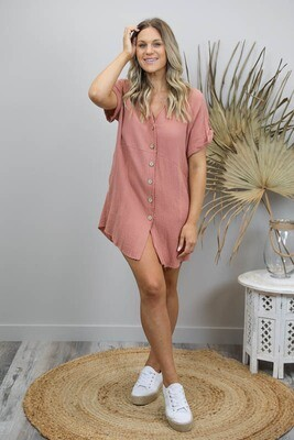 Absolutely Fabulous S/S Fray Shirt/Dress - Dusty Rust