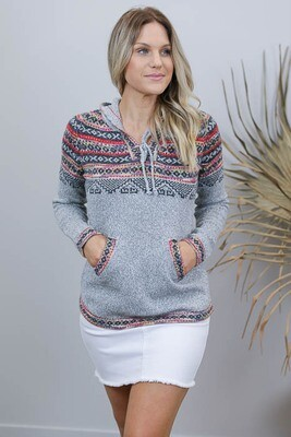Winter Surf Hood Jumper - Light Gray Multi