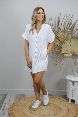 Absolutely Fabulous S/S Fray Shirt/Dress - White