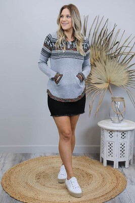 Winter Surf Hood Jumper - Gray Llama Multi