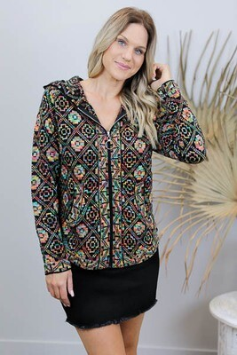 Boogie Hood Zip Knit Jacket - Rainbow Aztec