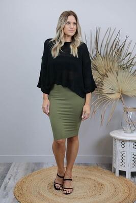Love U Basics Midi Skirt - Khaki