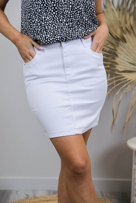 Cronulla Not So Mini Skirt - White Denim