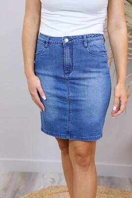 Cronulla Denim Knee Skirt - Dark Denim