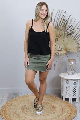 Shelly Fray Denim Mini Skirt - Khaki
