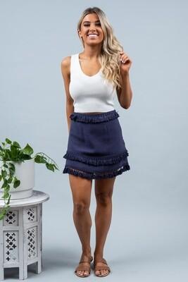 Byron Fringe Skirt - Navy