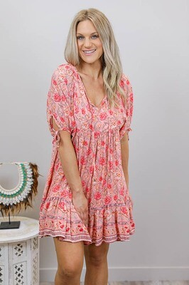 Flavour Rocks Miniish Dress - Blush/Blush Bloom