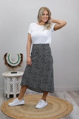 Zooloo Luxury Midi Skirt - Black/White Spots
