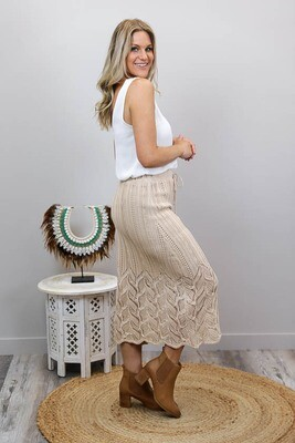 Rhythm Knit Midi Skirt - Latte