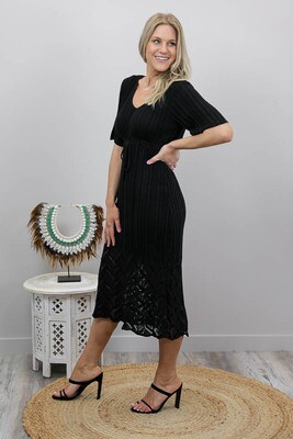 Rhythm Knit Midi Dress - Black