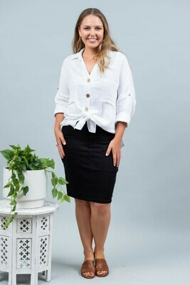 Wanda Denim Midi Skirt - Black
