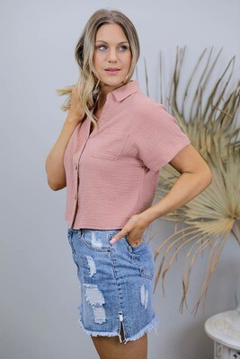 Absolutely Fabulous S/S Crop Cotton Shirt - Dusty Rust