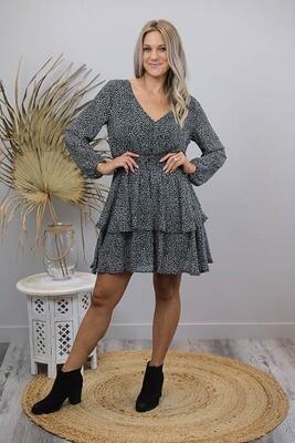 Sheila Tier Miniish Dress - Black/Mocha Leo