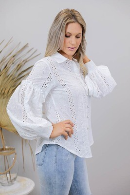 My Gal Embroidery Anglaise Shirt - White
