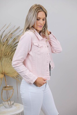 Snowy Denim Jacket - Blush
