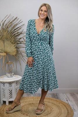 Cindy L/S Wrap Midi Dress - Emerald/WhiteFleur