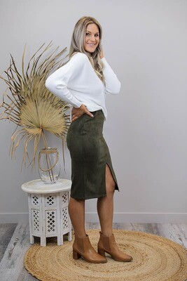 Pinot Faux Suede Knee Skirt - Khaki