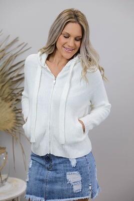Sally Knit Hood Zip Cardigan/Jacket - Cream