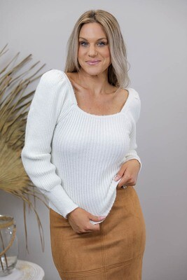 Gondola Puff Sleeve On/Off Shoulder Jumper - Cream