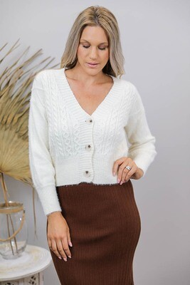 Paris Crop Cable Knit Top/Cardigan - Cream