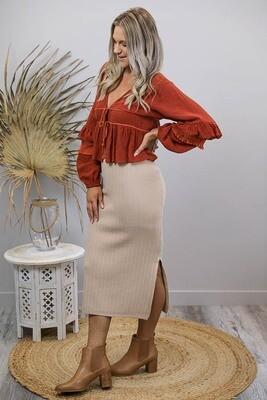 Misty Rib Knit Midi Skirt - Latte