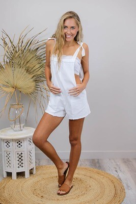 Byron Fray Playsuit - White