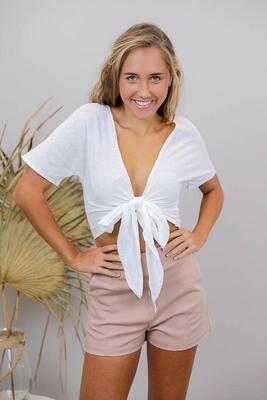 Beatnik Short Sleeve Top - White