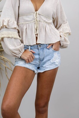 Beach Bum Rip Shorts - Light Denim