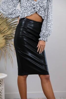 Love U Basics Faux Leather Pencil Skirt - Black