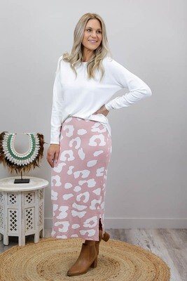 Lola Knit Midi Skirt - Blush/White Leo