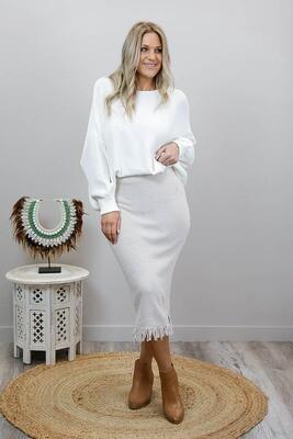 Casablanca Knit Midi Skirt - Oatmeal