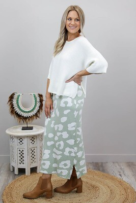 Lola Knit Midi Skirt - Mint/White Leo