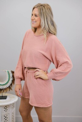 Driftwood Knit Crop Jumper - Blush