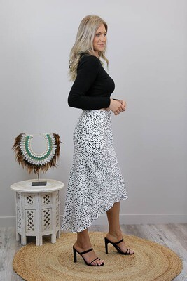 Zooloo Luxury Midi Skirt - White/Black Spots