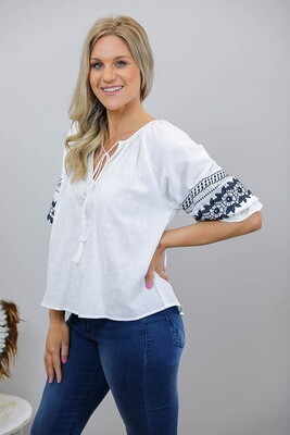 Bethany Bo Ho Embroidered Top - White