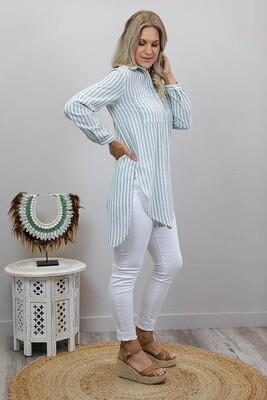 Boardwalk Cotton Must Have Shirt - Sage Stripe