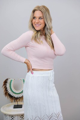 Cutie Patootie L/S Crop Knit Top - Blush