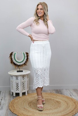 Rhythm Knit Midi Skirt - White