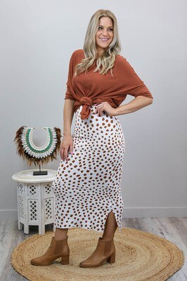 Lola Knit Midi Skirt - White/Tan Spot