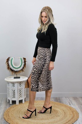 Amber Split Knee Pencil Skirt - Tan Leo