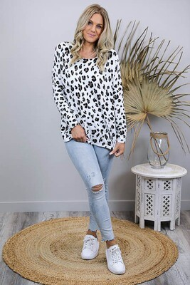 Sammi Super Soft Jumper - White/Leo