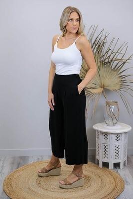 Candid Linen Blend Culotte Pants - Black