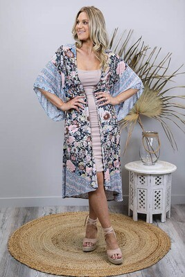 Zakita BoHo Mid Length Kimono Cape - Navy/Blush Bloom