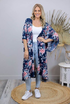 Janice BoHo Mid Length Kimono Cape - Navy/Blush Bloom