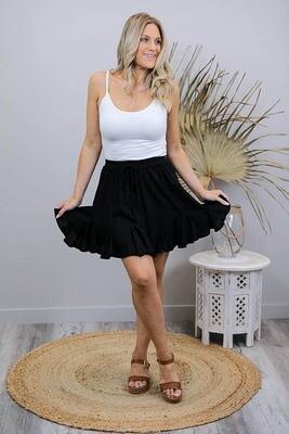 Indiana Frill Mini Skirt - Black Linen Blend