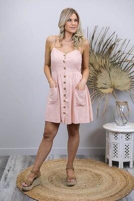 Shelly Beach Button Miniish Dress - Blush Linen Blend Thin Strap