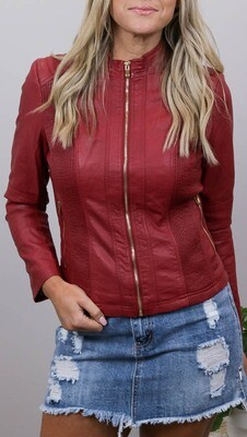 Binky Biker PU Leather Jacket - Cherry